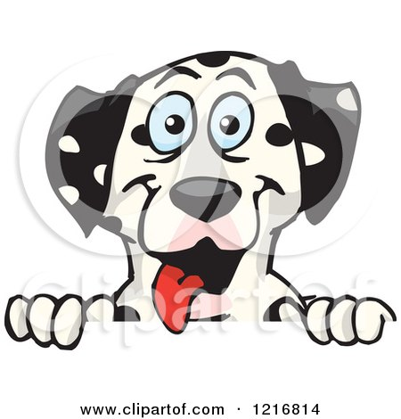 Clipart of a Happy Dalmatian Dog Panting over a Sign - Royalty Free Vector Illustration by Dennis Holmes Designs