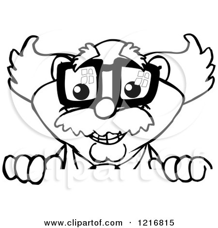Clipart of a Happy Black and White Professor or Scientist over a Sign - Royalty Free Vector Illustration by Dennis Holmes Designs
