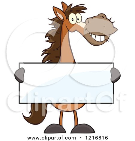 Clipart of a Happy Brown Horse Holding a Sign - Royalty Free Vector Illustration by Hit Toon