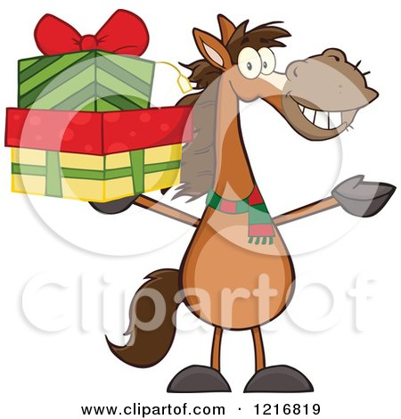 Clipart of a Happy Brown Horse Holding up a Stack of Christmas Gifts - Royalty Free Vector Illustration by Hit Toon
