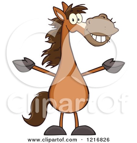 Clipart of a Happy Brown Horse Standing Upright and Holding out His Legs - Royalty Free Vector Illustration by Hit Toon