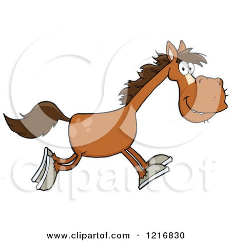 Clipart of a Happy Brown Horse Running - Royalty Free Vector Illustration by Hit Toon