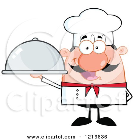 Clipart of a Cartoon Happy White Chef with a Mustache, Holding a Cloche Platter - Royalty Free Vector Illustration by Hit Toon
