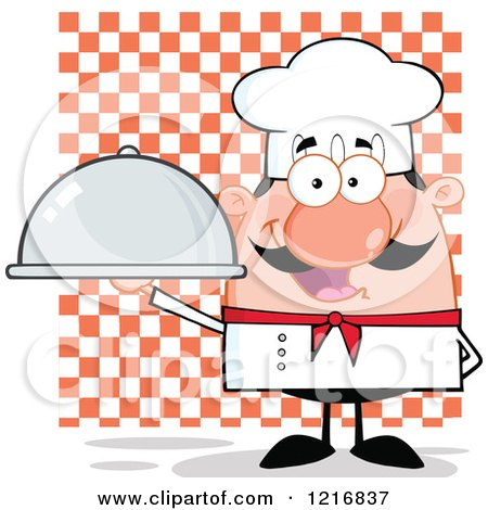 Clipart of a Cartoon Happy White Chef with a Mustache, Holding a Platter over Checkers - Royalty Free Vector Illustration by Hit Toon