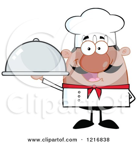 Clipart of a Cartoon Happy Black Chef with a Mustache, Holding a Cloche - Royalty Free Vector Illustration by Hit Toon