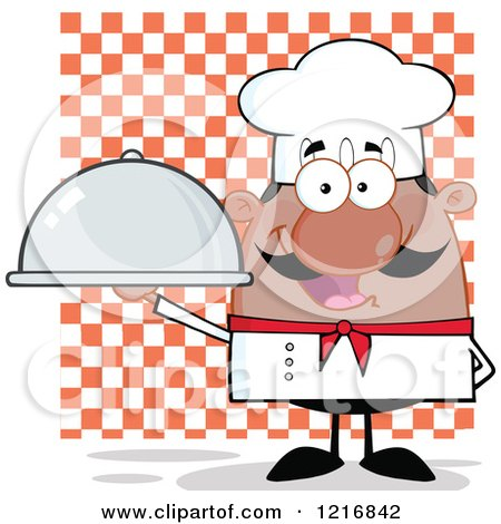 Clipart of a Cartoon Happy Black Chef with a Mustache, Holding a Cloche over Checkers - Royalty Free Vector Illustration by Hit Toon