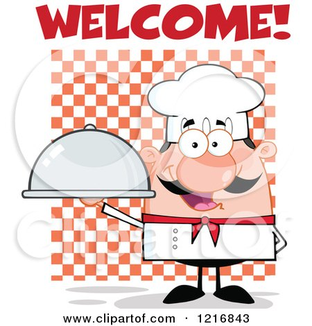 Clipart of a Cartoon Happy White Chef with a Mustache, Holding a Cloche Platter Under Welcome - Royalty Free Vector Illustration by Hit Toon