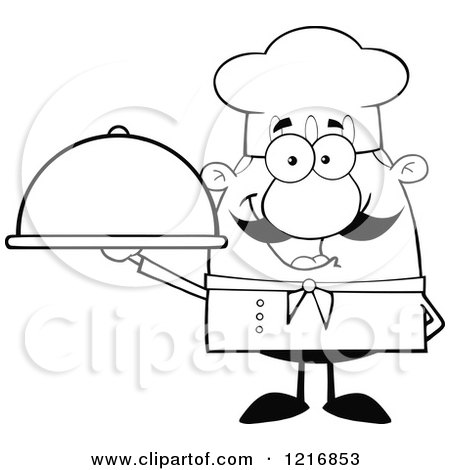 Clipart of an Outlined Cartoon Happy Chef with a Mustache, Holding a Cloche - Royalty Free Vector Illustration by Hit Toon