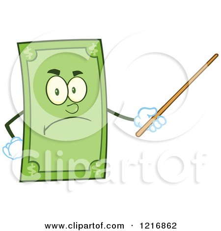Clipart of a Mad Dollar Bill Mascot Using a Pointer Stick - Royalty Free Vector Illustration by Hit Toon