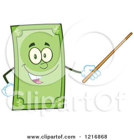 Clipart of a Happy Dollar Bill Mascot Using a Pointer Stick - Royalty Free Vector Illustration by Hit Toon