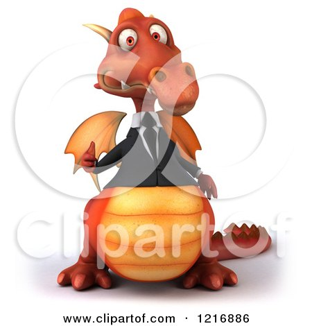 Clipart of a 3d Red Business Dragon Holding a Thumb up - Royalty Free Vector Illustration by Julos