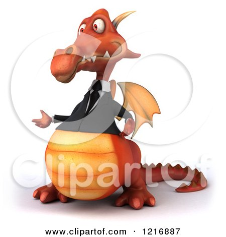 Clipart of a 3d Red Business Dragon Presenting - Royalty Free Vector Illustration by Julos
