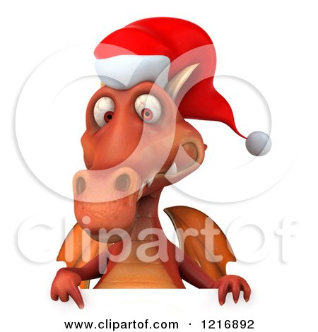 8fd686bfc87a5 Clipart of a 3d Red Christmas Dragon Wearing a Santa Hat over a Sign -  Royalty