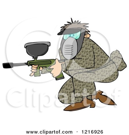 Clipart of a Man in Camo, Crouching with a Paintball Gun - Royalty Free Illustration by djart