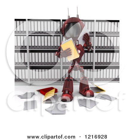 Clipart of a 3d Red Android Robot Reading Documents - Royalty Free Illustration by KJ Pargeter