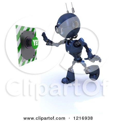 Clipart of a 3d Blue Android Robot Pushing a Yes Button - Royalty Free Illustration by KJ Pargeter