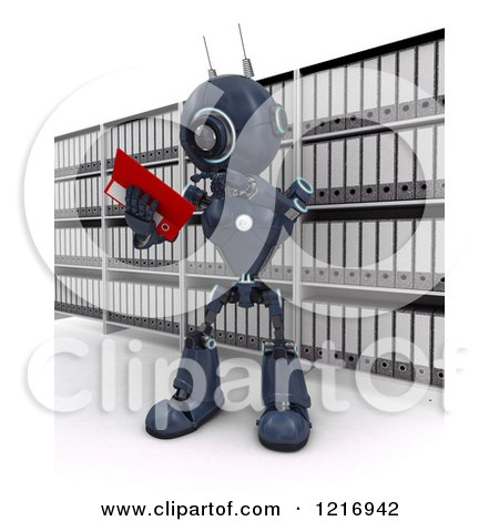 Clipart of a 3d Blue Android Robot Reading Files - Royalty Free Illustration by KJ Pargeter