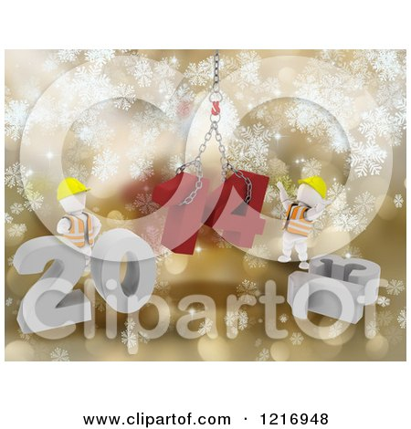 Clipart of 3d New Year White Construction Characters Replacing 2013 with 2014 over Gold - Royalty Free Illustration by KJ Pargeter