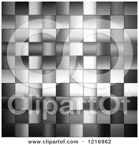 Clipart of a Grayscale Background of Metal Tiles - Royalty Free Illustration by KJ Pargeter