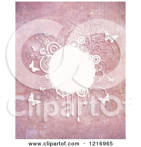 Clipart of a Pink Grungy Backgorund with Butterflies and Foliage in White - Royalty Free Illustration by KJ Pargeter