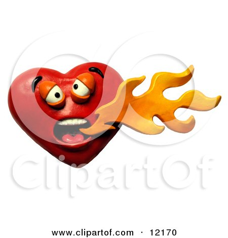 Clay Sculpture Clipart Heart Breathing Spicy Hot Fire - Royalty Free 3d Illustration  by Amy Vangsgard