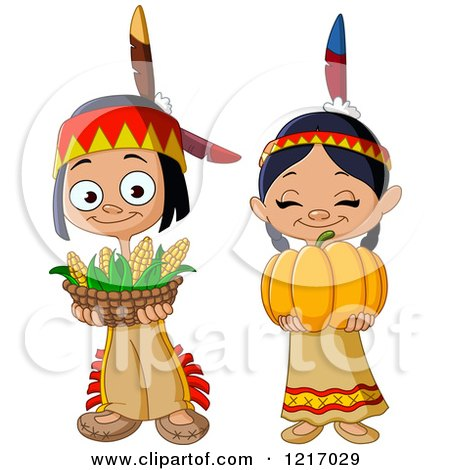 Clipart of Cute Thanksgiving Native American Indian Children with Corn and a Pumpkin - Royalty Free Vector Illustration by yayayoyo