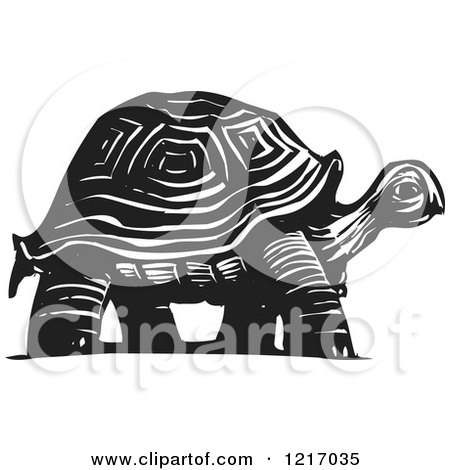 Clipart of a Woodcut Tortoise in Black and White - Royalty Free Vector Illustration by xunantunich