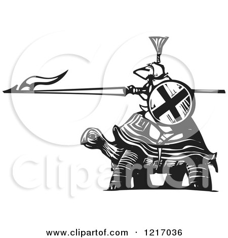Clipart of a Woodcut Knight Riding a Totoise in Black and White - Royalty Free Vector Illustration by xunantunich