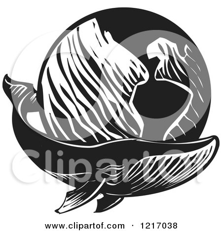 Clipart of a Woodcut Whale with a Globe in Black and White - Royalty Free Vector Illustration by xunantunich