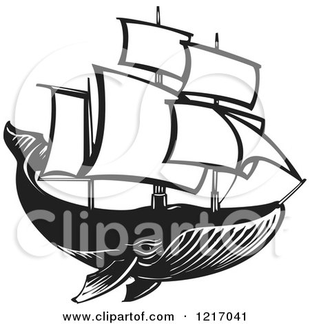 Clipart of a Woodcut Whale with Sails in Black and White - Royalty Free Vector Illustration by xunantunich
