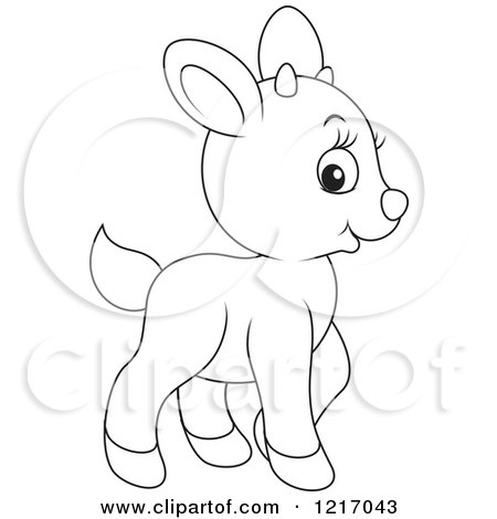 Clipart of a Cute Outlined Goat - Royalty Free Vector Illustration by Alex Bannykh