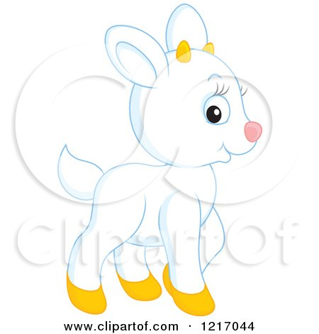 Clipart of a Cute White Goat - Royalty Free Vector Illustration by Alex Bannykh