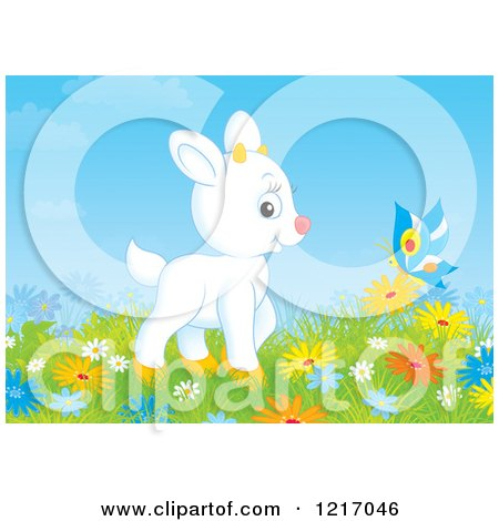 Clipart of a Cute White Goat and Butterfly in a Meadow with Flowers - Royalty Free Illustration by Alex Bannykh