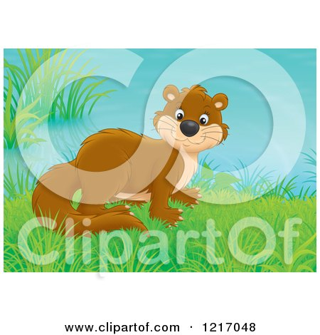 Clipart of a Cute Weasel in a Meadow - Royalty Free Illustration by Alex Bannykh