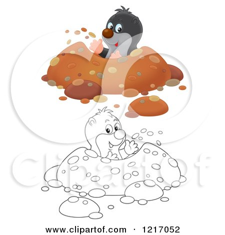 Clipart of a Cute Outlined and Colored Gopher Digging a Hole in a Meadow - Royalty Free Illustration by Alex Bannykh