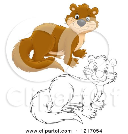 Clipart of a Cute Weasel in Color and Black and White - Royalty Free Illustration by Alex Bannykh