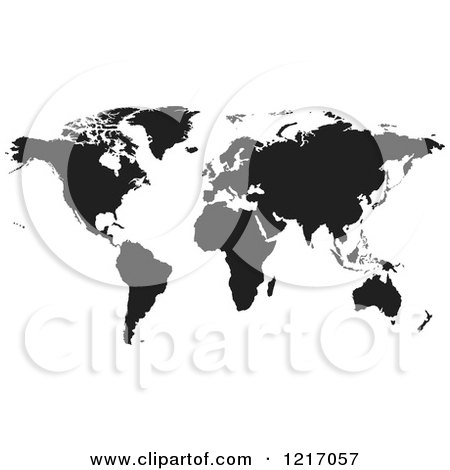 Clipart of a Black World Map - Royalty Free Vector Illustration by dero