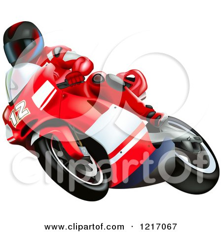 Clipart of a Rider on a Ducati Bike - Royalty Free Vector Illustration by dero
