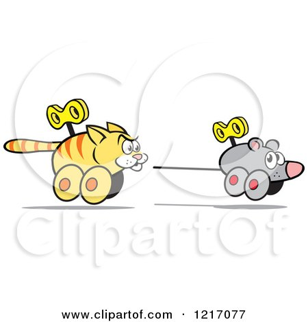 Clipart of a Wind up Cat Chasing a Mouse - Royalty Free Vector Illustration by Johnny Sajem