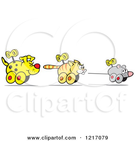 Clipart of a Wind up Dog Chasing a Cat and Mouse - Royalty Free Vector Illustration by Johnny Sajem