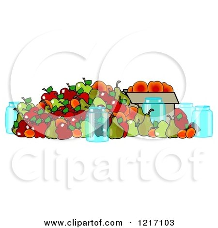 Clipart of Canning Jars and a Pile of Fall Harvest Fruits - Royalty Free Illustration by djart