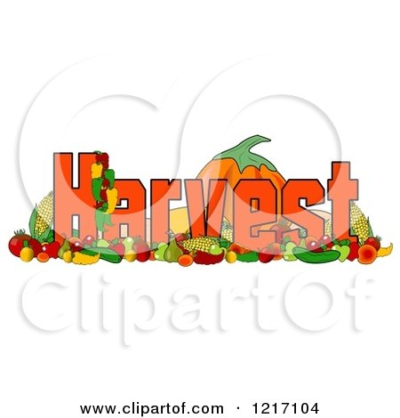 Clipart of Produce and the Word Harvest - Royalty Free Illustration by djart