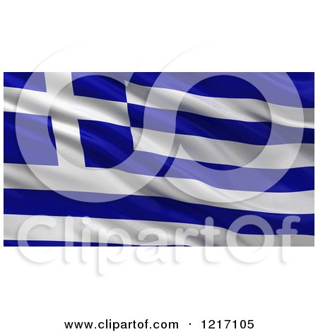 Clipart of a 3d Waving Flag of Greece with Rippled Fabric - Royalty Free Illustration by stockillustrations