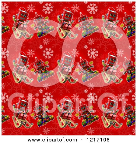 Clipart of a Seamless Background of Vintage Robots on Red with Snowflakes - Royalty Free Illustration by stockillustrations