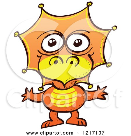 Clipart of a Cute Orange Baby Dinosaur - Royalty Free Vector Illustration by Zooco