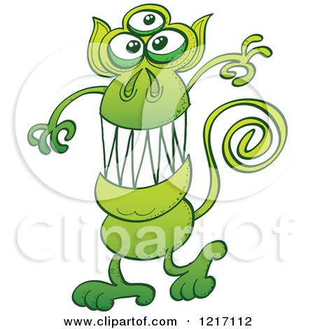 Clipart of a Green Three Eyed Alien Monkey - Royalty Free Vector Illustration by Zooco