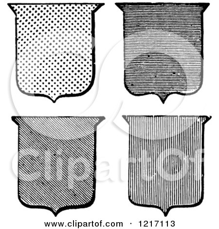 Clipart of a Vintage Black and White Shields - Royalty Free Vector Illustration by BestVector