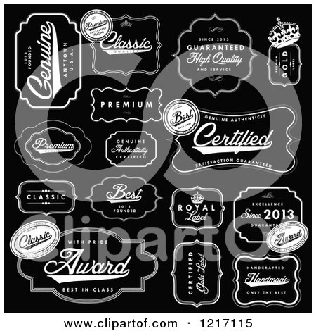 Clipart of Vintage Black and White Quality Labels - Royalty Free Vector Illustration by BestVector