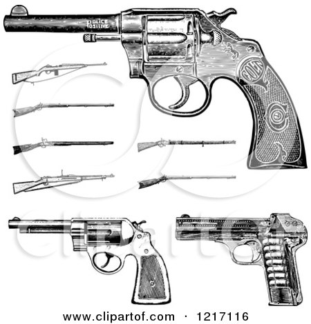 Clipart of Vintage Black and White Pistols and Rifles - Royalty Free Vector Illustration by BestVector