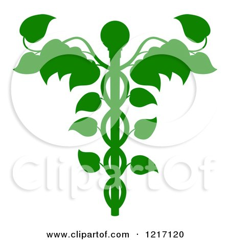 Clipart of a Green Medical Dna Caduceus Plant - Royalty Free Vector Illustration by AtStockIllustration